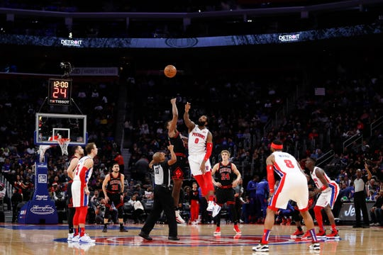 Detroit Pistons center Andre Drummond (0) wins the jump ball against Chicago Bulls center Wendell Carter Jr. (34) during the first quarter at Little Caesars Arena on Saturday, Dec. 21, 2019.