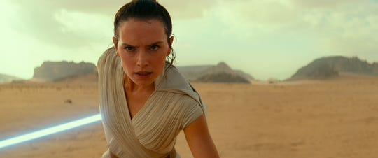 """Daisy Ridley as Rey in a scene from """"Star Wars: The Rise of Skywalker."""""""