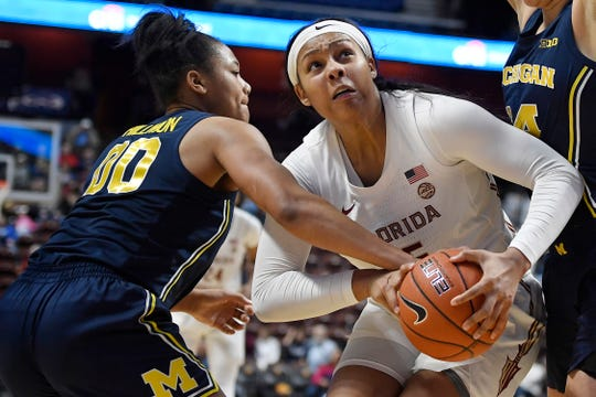 Florida State's Kiah Gillespie, right, is fouled by Michigan's Naz Hillmon, in the second half on Sunday.