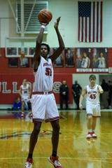 Bosse center Kiyron Powell (52) makes a free throw during the Bosse Winter Classic against Gary West Side.