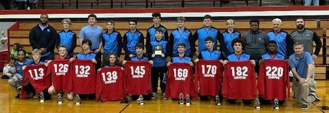 Union County won the Harrison 10-way tournament Saturday in Evansville with the Braves' finishing 9-0 in the event.