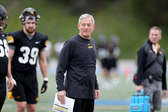 Kirk Ferentz is shown during Sunday's practice at Mesa College in San Diego. Ferentz is 8-8 in bowl games.
