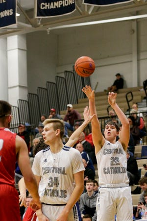 Central Catholic forward Clark Barrett (22) goes up for three during the fourth quarter of an IHSAA boy's basketball game, Saturday, Dec. 21, 2019 in Lafayette.