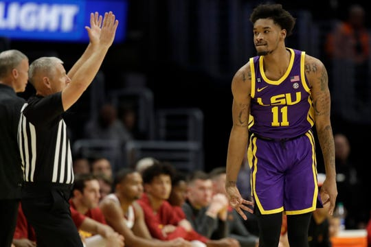 LSU guard Charles Manning Jr. (11) reacts after making a 3-point basket against Southern California during the first half of an NCAA college basketball game Saturday, Dec. 21, 2019, in Los Angeles. (AP Photo/Marcio Jose Sanchez)