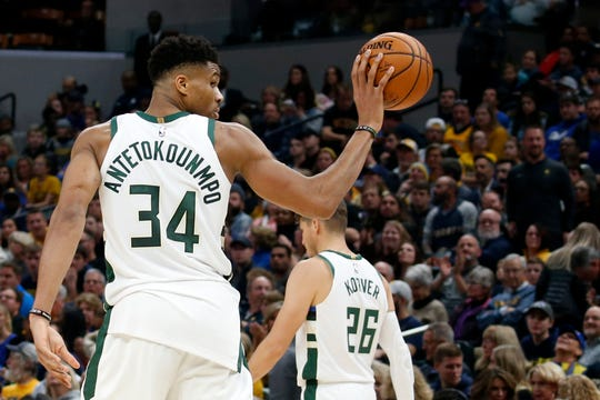 Bucks forward Giannis Antetokounmpo and the Bucks play a third game in four days Sunday vs. the Pacers.