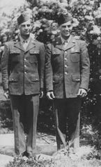 "Twins Willard (left) and Wilbur Diefenthaler grew up in Kiel and fought during the Battle of the Bulge 75 years ago. They were both captured on Dec. 19, 1944 and split up on Jan. 25, 1945, when Willard was sent to another POW camp. Willard was liberated on March 20, 1945, but did not know his brother's fate until a fellow soldier saw him and said, ""I swear to God I buried you."" That's when Willard learned his brother had not survived."