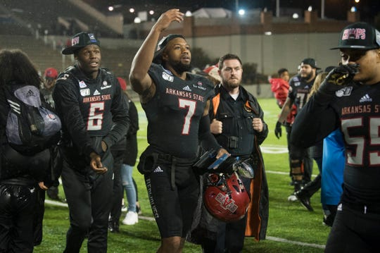 Arkansas State wide receiver Omar Bayless (7) was awarded the MVP award during the Camellia Bowl at Cramton Bowl in Montgomery, Ala., on Saturday, Dec. 21, 2019. Arkansas State defeated Florida International 34-26.