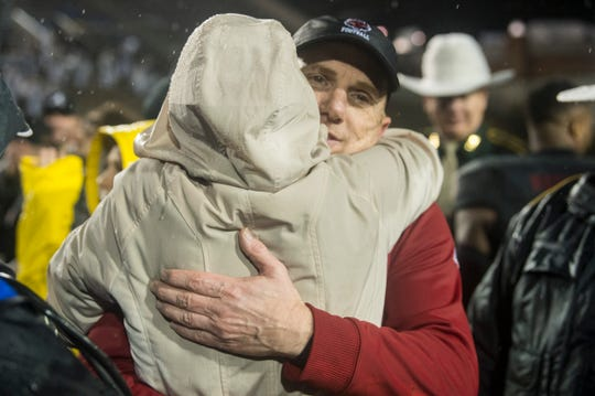 Arkansas State head coach Blake Anderson celebrates after the game during the Camellia Bowl at Cramton Bowl in Montgomery, Ala., on Saturday, Dec. 21, 2019. Arkansas State defeated Florida International 34-26.