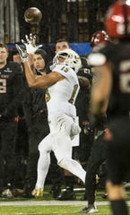 Florida International wide receiver Austin Maloney (15) catches a pass during the Camellia Bowl at Cramton Bowl in Montgomery, Ala., on Saturday, Dec. 21, 2019. Arkansas State defeated Florida International 34-26.
