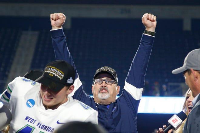 Dec 21, 2019; McKinney, TX, USA;  West Florida Argonauts head coach Pete Shinnick celebrates after winning the game against the Minnesota State Mankato Mavericks at McKinney ISD Stadium. Mandatory Credit: Tim Heitman-USA TODAY Sports