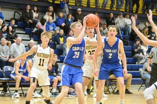 Croswell-Lexington's Tyler Johnson shoots during the Ed Peltz Holiday Tournament on Saturday, Dec. 21, 2019, at SC4.