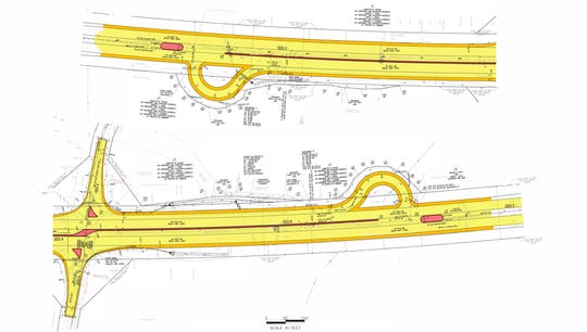 This is an engineering drawing of proposed jug handle traffic intersections near County Line Road on Route 15.