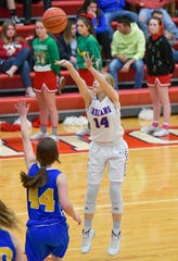 Union City's Skylie Lutz (14) scored 27 points in a 75-27 win over Cambridge City Lincoln on Friday night.