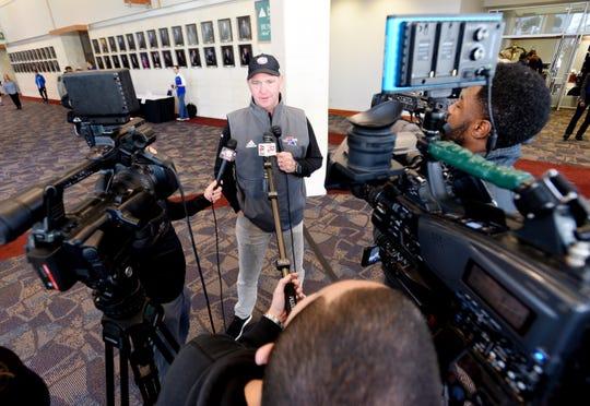 Louisiana Tech University's head coach Skip Holtz talks to reporters when the team arrived at the Hilton Shreveport Hotel Sunday, December 22, 2019.