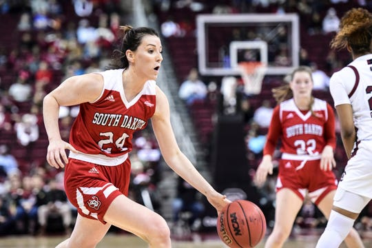 South Dakota guard Ciara Duffy (24) drives to the hoop against South Carolina during the first half of an NCAA college basketball game Sunday, Dec. 22, 2019, in Columbia, S.C.