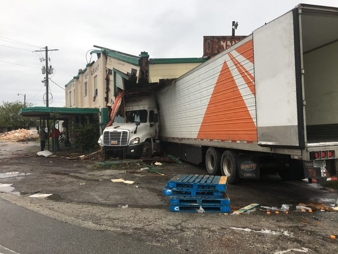 A part of the historic Desert Inn and Restaurant in Yeehaw Junction collapsed early morning Sunday Dec. 22, 2019, after a semi-truck hit the building, the Florida Highway Patrol reports.
