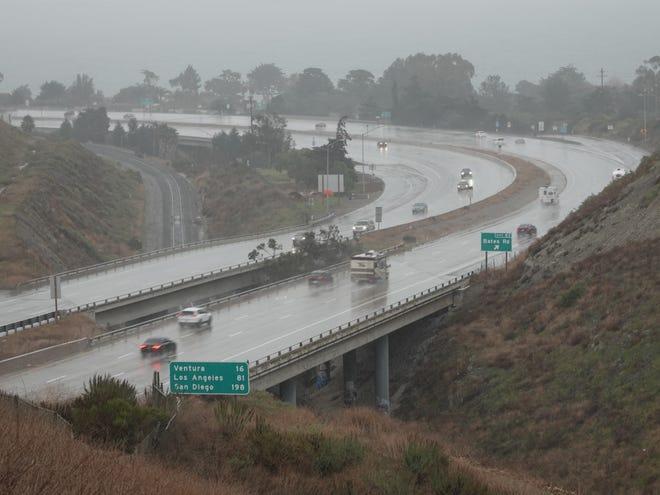 Rain falls on Highway 101 near the Ventura-Santa Barbara County line on Dec. 22, 2019.