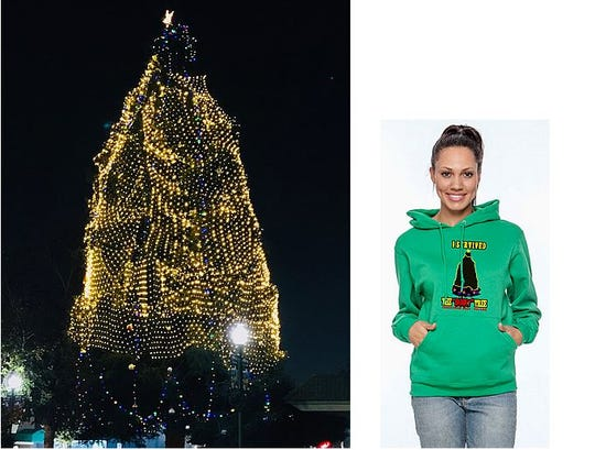 "The Tulare Downtown Association is selling commemorative ""I survived the 'janky' tree"" sweatshirts to raise funds for next year's decorations."