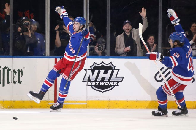 New York Rangers center Filip Chytil (72) and left wing Brendan Lemieux (48) celebrate after Chytil scored a goal during the first period of an NHL hockey game against the Anaheim Ducks, Sunday, Dec. 22, 2019, in New York. (AP Photo/Kathy Willens)