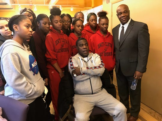 New City resident and DeWitt Clinton track coach Cornel Johnson (r) joins his girls track team and friend and former Clinton athlete Tracy Morgan Dec. 21, 2019 at The Armory as Johnson is inducted into The Armory's Coaches Hall of Fame.