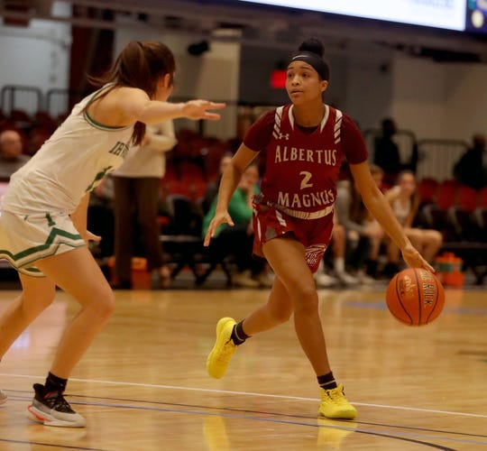 Albertus Magnus defeated Irvington 60-33 in a consolation game at the Slam Dunk Tournament at the Westchester County Center in White Plains Dec. 22, 2019. .
