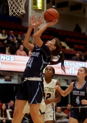 Sonia Citron of Ursuline scores against Hastings during a consolation game at the Slam Dunk Tournament at the Westchester County Center in White Plains Dec. 22, 2019. Ursuline defeated Hastings 83-45.