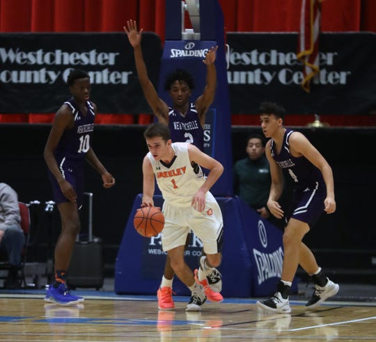 New Rochelle defeated Horace Greeley 44-36 during a consolation game at the Slam Dunk Tournament at the Westchester County Center in White Plains Dec. 22, 2019.
