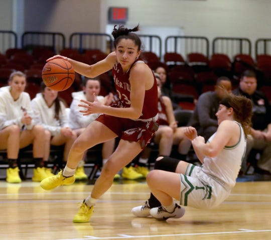 Paulina Paris of Albertus Magnus drives to the rim during a consolation game at the Slam Dunk Tournament at the Westchester County Center in White Plains Dec. 22, 2019. Magnus defeated Irvington 60-33.