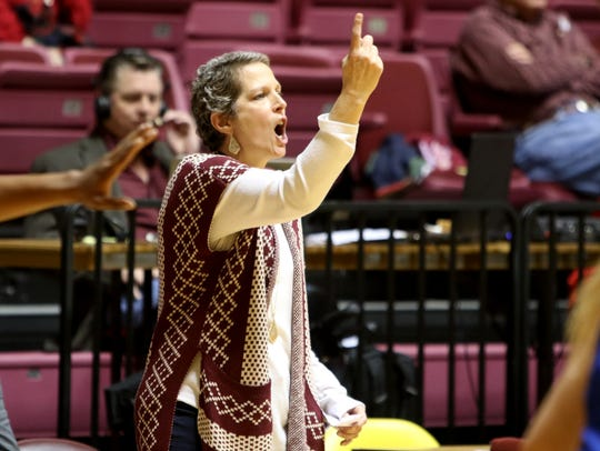 Midwestern State head basketball coach Noel Johnson yells to her players in the game against Lubbock Christian Saturday, Dec. 21, 2019, at D.L. Ligon Coliseum.