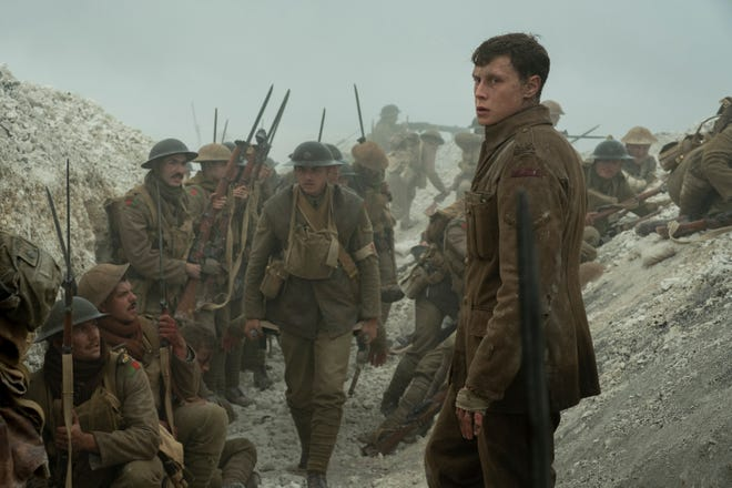"Schofield (George MacKay, right) is shaken by his wartime experiences in ""1917."""