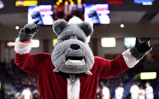 Dec 21, 2019; Spokane, Washington, USA; Gonzaga Bulldogs mascot Santas Spike performs during a basketball game against the Eastern Washington Eagles