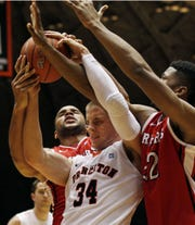 Princeton's Ian Hummer tries to control the ball against Rutgers in 2012.