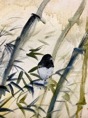 Junco in bamboo