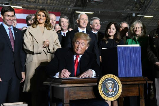 President Donald Trump the National Defense Authorization Act Friday, Dec. 20, 2019. making the U.S. Space Force the 6th armed force of the America.