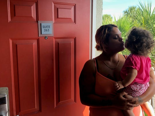 Rebecca Martinez has lived at Melbourne All Suites Inn with her fiancee and three children since an eviction in 2019. Many families end up living at hotels and motels to avoid being on the streets.