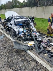 Two people suffered non-life-threatening injuries in a crash on Interstate 95 near Palm Bay the day before Christmas Eve.