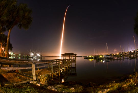 The launch of the SpaceX Crew Dragon capsule atop a Falcon 9 rocket to the International Space Station from Pad 39A at Kennedy Space Center at 2:39 a.m. Saturday morning, March 2nd. The test flight is part of NASA's Commercial Crew Program to launch astronauts once again from U.S. soil. The capsule is carrying a test dummy to measure the responses on the human body and its surrounding environment. Photo is a 153 second time exposure  viewed from the shores of the Indian River in Cocoa.