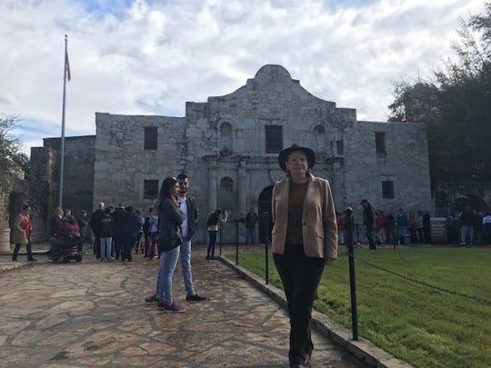 Lee Spencer White, founder of the Alamo Defenders Descendants Association, outside the historic shrine, Dec. 21, 2019.