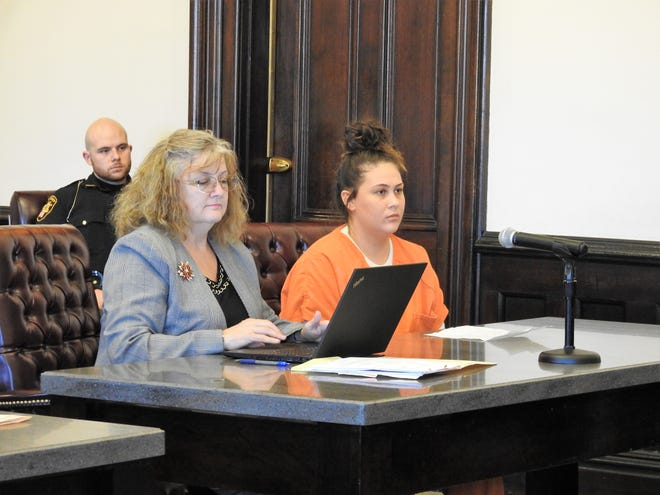 Attorney Marie Seiber with client Cona M. Thorp of Conesville Monday in Coshocton County Common Pleas Court. Thorp received a total of 17 months in prison on Monday in Coshocton County Common Pleas Court for charges relating to trafficking in cocaine, fentanyl and methamphetamine.