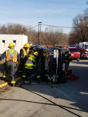 An ARL employee was extricated from a rollover crash near an ARL building on Dec. 23, authorities said. He was rushed to Methodist Hospital with non-life threatening injuries, a Des Moines Fire Department spokesman said. No animals were in the vehicle.