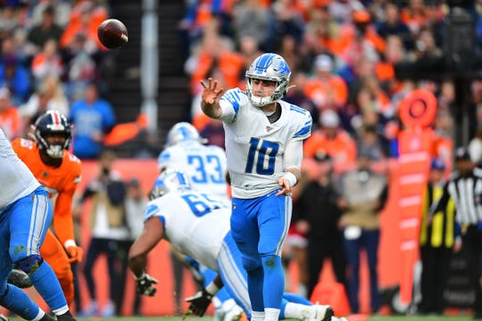 Lions quarterback David Blough passes in the third quarter of the Lions' 27-17 loss on Sunday, Dec. 22, 2019, in Denver.