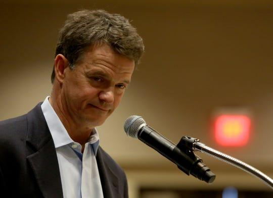 Congressman Dave Trott listens to a question.