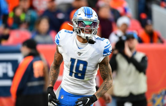 Lions wide receiver Kenny Golladay celebrates his touchdown reception in the third quarter of the Lions' 27-17 loss on Sunday, Dec. 22, 2019, in Denver.