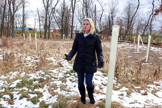 Biologist Brooke Maslo of Rutgers University stands in the flood plain forest she designed in the Watson Crampton neighborhood in Woodbridge, N.J., on Thursday, Dec. 5, 2019. Plastic tubes that protect and nurture growing trees and wild grass stand where houses once stood.