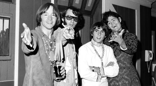 This July 6, 1967 file photo shows, from left, Peter Tork, Mike Nesmith, David Jones and Micky Dolenz of the musical group The Monkees.