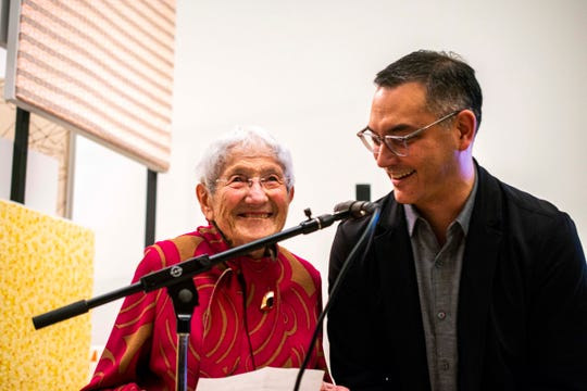 Ruth Adler Schnee with Cranbrook Art Museum Director Andrew Blauvelt at the opening of her career retrospective, which will be up through Mar. 15.