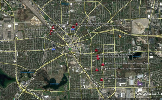 This map shows 10 incidents that occurred within 90 minutes in Pontiac on Friday, Dec. 20. Investigators believe the same man committed all of the incidents.