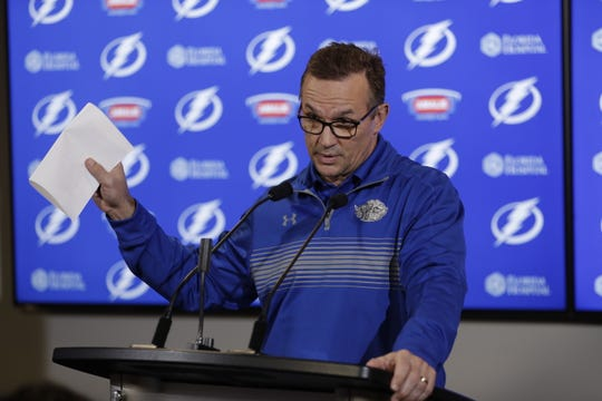 Then-Tampa Bay Lightning general manager Steve Yzerman answers questions during a press conference in 2017.