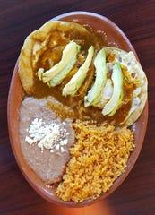 Authentic North Mexican Huevos Rancheros with homemade red sauce at La Campirana.