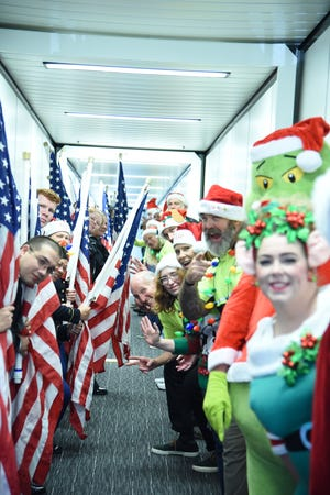 Petty Officer 1st Class Kendra Hall, from Oak Harbor, Ohio, participated in welcoming the Gold Star families for the 2019 Snowball Express.